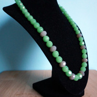 Light Lime Green and Grey Necklace