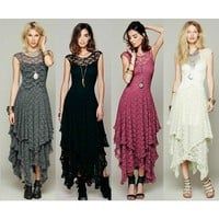 Autumn Summer Lace Up Fashion Sexy Long Dress Women High Quality Asymmetrical Backless Lady Beach Wear designer clothes