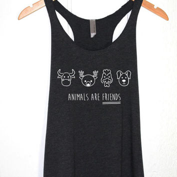 Animals are Friends Tank Top in Heather Black - Vegan Vegetarian Tee-Woodland Forest Animals-Animal - Hipster Tumblr Vegan Shirt-Cup of tee