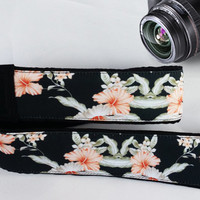 Floral Camera Strap. Flowers Camera Strap. Black Pink Camera Strap. Dslr Camera Strap.  Accessories