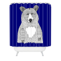 Romi Vega Blue Bear Shower Curtain