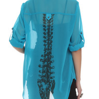 Iron Fist Turquoise Spineless Blouse Top | Hot Topic