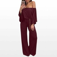 ONETOW 2017 Autumn Women Rompers Womens Jumpsuit Long Sleeve Solid Sexy Off Shoulder Women Jumpsuit Ladies Loose Romper WS3015O