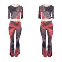 2 Piece Tie Dye Midi Sleeve Crop Top & Bell Bottom Pants Set {Red/Blue}