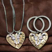 2pcs BONNIE CLYDE Pendant Necklaces keychain Guns Heart Friendship Adventure Freedom Best Friends Forever Girl Keepsake Gift
