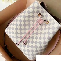 LV hot selling fashionable lady white plaid stitching inside one shoulder bucket bag