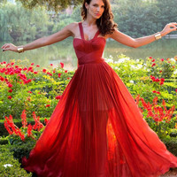 Beautiful a-line red tulle 2013 spring long prom dress/evening dress from prom 2013