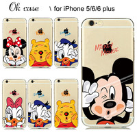 for iPhone clear case Lovely Animal Mickey Minnie Mouse soft rubber cover for Apple iphone 5s 6 6s Plus Case Couple lovers Gift