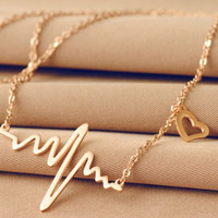 Cute Heart Beat Pendant Necklace Metal Alloy with Chain