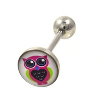 """Pink Owl Graphic Barbell Tongue Ring 14g 5/8"""""""