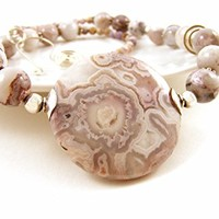 Lavender Gemstone Necklace Beaded with Violet & Cream Swirled Crazy Lace Agate & Sterling Silver