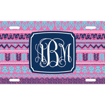 Custom Personalized License Plate Car Tag Navy Aztec Tribal Vine Monogram Sorority 16th Birthday Girls Gift Aluminum Front Car Plate LP-1018