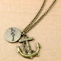 ancient bronze anchor tree and the tree of life - the charm necklace, hope friendship tree, Christmas gift - friendship