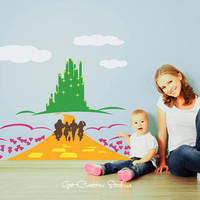 Emerald City Oz Decal Poppy Yellow Brick Road Dorothy Tin Man Scarecrow Lion Toto Wicked Witch Wizard Enchanted Ruby Slippers