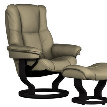 Mayfair Medium Recliner and Ottoman by Stressless in Paloma Sand Leather