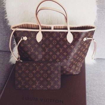 LV Women Shopping Leather Tote Handbag Shoulder Bag FOR TWO PIECE AND SAME COLOR WALLET