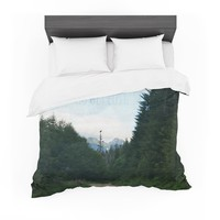 """Robin Dickinson """"Go Get Lost"""" Forest Green Featherweight Duvet Cover"""