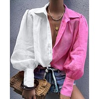 2020 new arrival women's lapel long sleeve two-color stitching shirt top