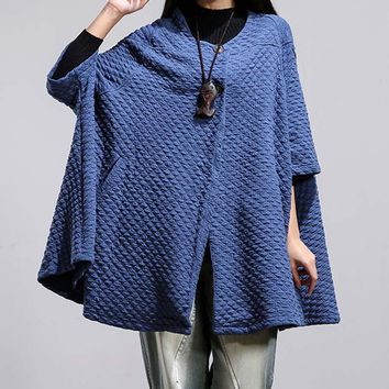Round Neck 3/4 Batwing Sleeve Pockets Buttons Poncho Cardigan
