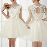 Bow Embroidery Round Neck Dress