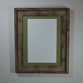 11x14 reclaimed wood picture frame with 8x10 green mat