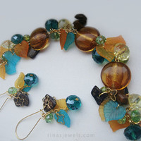 Multicolor Brown blue bracelet and earrings Colorful orange, blue and brown Leaf charm jewelry Lampwork bracelet and dangle earrings Murano