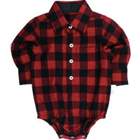 Red Plaid Boys Onesuit