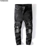 Little Stretch Ripped Biker Jeans Men Hole Hip Hop Brand Clothing Skinny Jeans Fashion Brand Men pants 2017 New Distressed Pants
