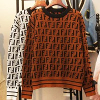 Fendi New fashion more letter print women long sleeve top sweater