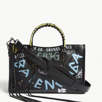 BALENCIAGA Classic City graffiti print leather shoulder bag