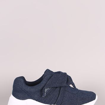 Denim Bow Accent Slip-On Sneaker