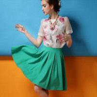 White Floral Print Short-Sleeve Blouse With Green Pleated Skirt
