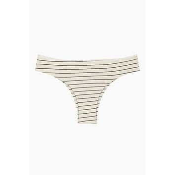 Rocky Hipster Bikini Bottom - Coastal White & Black Stripe Print