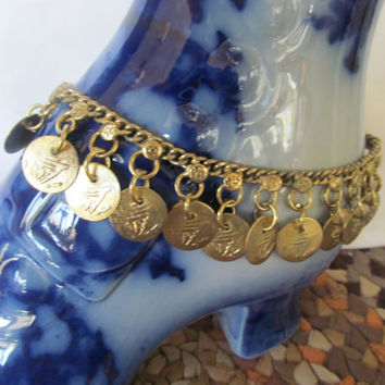 Gold Coin Bellydancing Anklet Gold Ankle Bracelet Tribal Jewelry India Gold Jewelry Large Anklet