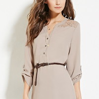 Belted Lace-Paneled Top | Forever 21 - 2000183265