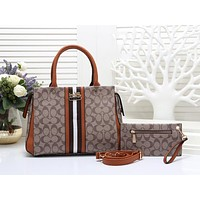 COACH Hot Selling Fashion Lady's Full Printed Coloured Single Shoulder Bag Two-piece Suite Apricot + brown