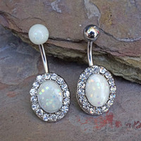 White Opal Belly Button Ring Glitter