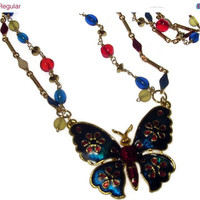 Valentine Day Sale July 4th Wire Wrapped Bead Necklace - Enamelled Butterfly Pendant