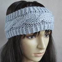 Grey Headband, Grey Hair Accessories, Hand Knit Cable Ear Warmer, Soft and Warm Headband, Wool and Acrylic Blend
