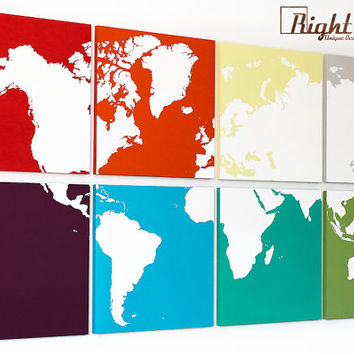 World Map Extra Large Colorful Wall Art - Original Painting Made Just for You - 24x48