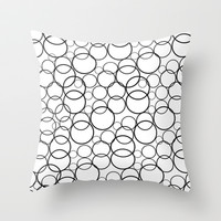 Black and white bubbles Throw Pillow by Yasmina Baggili