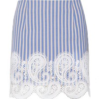 Paisley Crochet stripe mini skirt