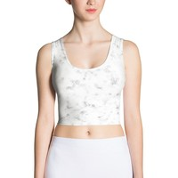 White marble Sublimation Cut & Sew Crop Top
