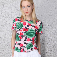 Green and Pink Floral Top