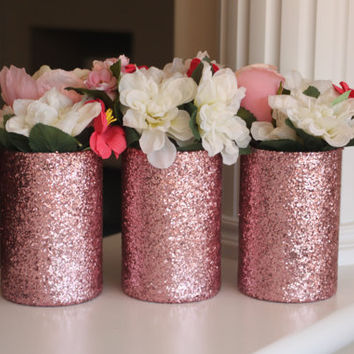 Pink Centerpiece, Pink Glitter Vases, Rose Gold Centerpiece, Pink Vases, Bridal Shower Centerpiece, Gold Centerpiece, Dusty Rose Centerpiece