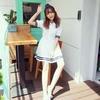Sweet cute navy wind summer dress