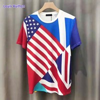 LV Louis Vuitton  New fashion letter star print national flag couple top t-shirt