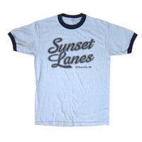 80s SUNSET LANES Tshirt 90s Bowling Ringer Shirt Blue Cotton Boho Mens Womens Hipster Tee Dickeyville Wisconsin Retro Dells Size Small