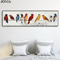 Abstract Bird Picture Classic Decor Sparrow Group Wire Little Birds Wall Art Printed Canvas Oil Painting Large Art No Frame
