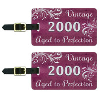 Pink Vintage Aged to Perfection 2000 Luggage Tag Set